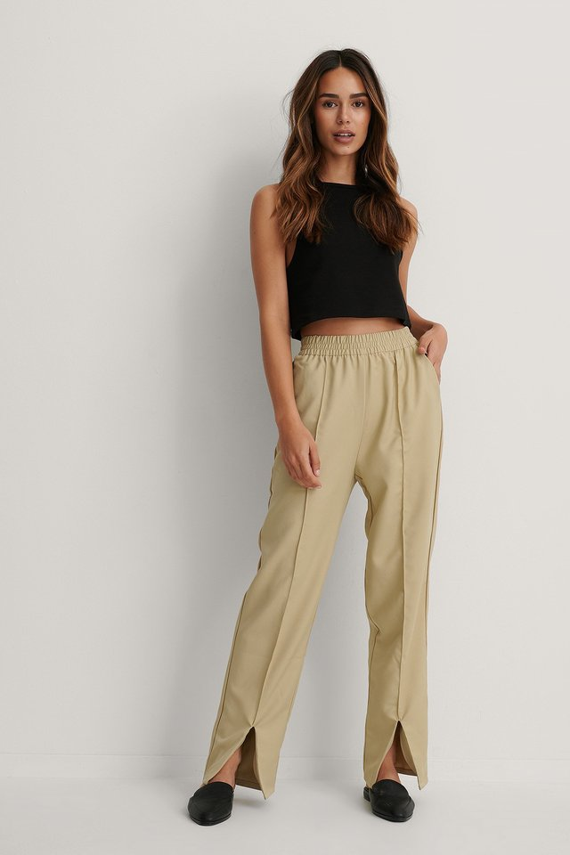 Beige Elastic Waist Front Slit Pants