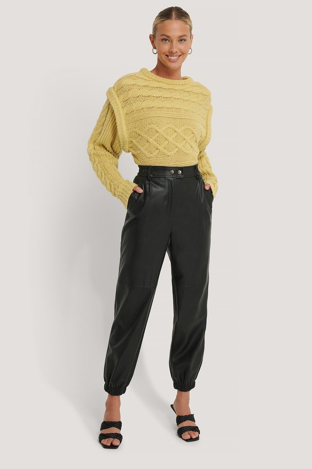 Black Elastic PU Pants