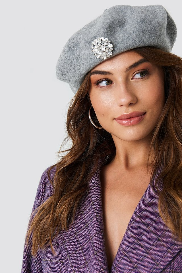 Embellished Beret Hat Grey