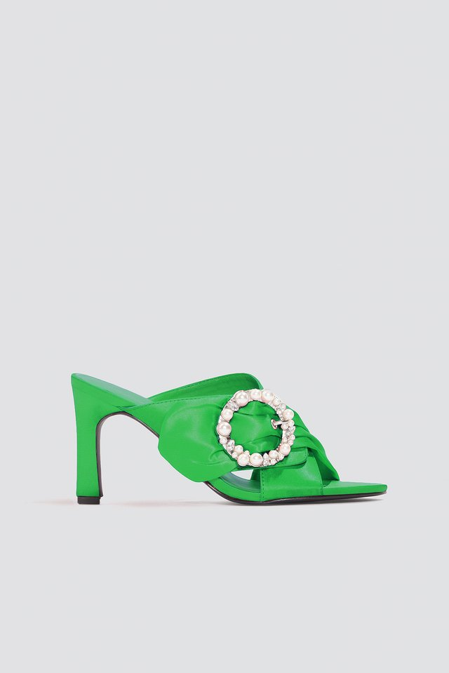 Embellished Heeled Mule Sandals Green