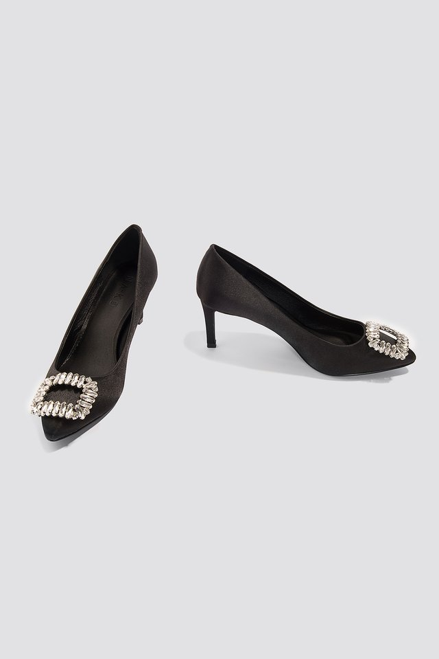 Embellished Mid Heel Satin Pumps Black
