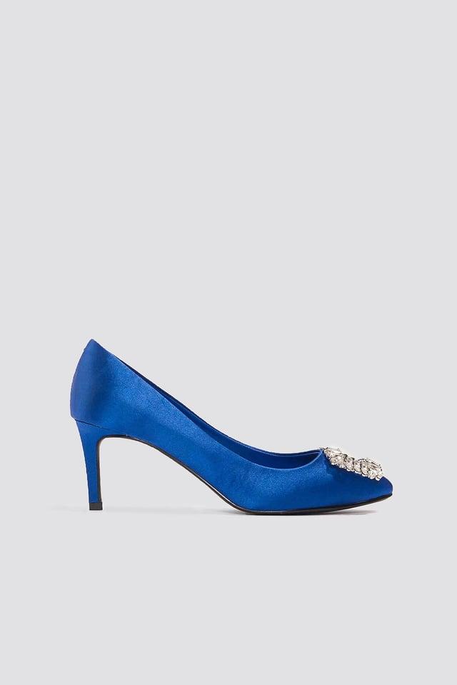 Embellished Mid Heel Satin Pumps Cobalt