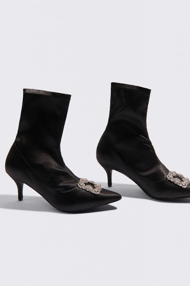 Embellished Satin Sock Boots Black