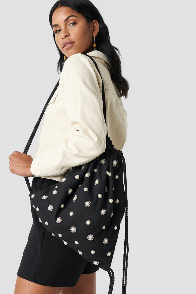 Black Embellished Tote Sack