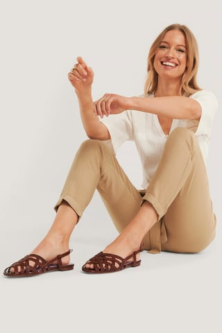 Brown Croco Embossed Leather Crossed Straps Sandals