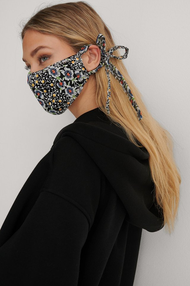 Black Combo Embroidered Face Mask
