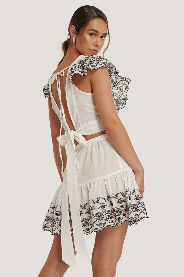 Embroidered Summer Set White