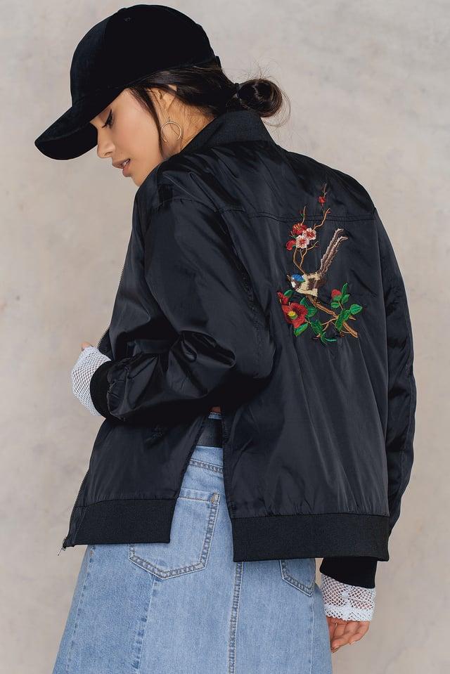 Embroidery Bomber Jacket Black