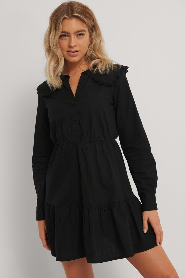 Embroidery Collar Shirt Dress Black