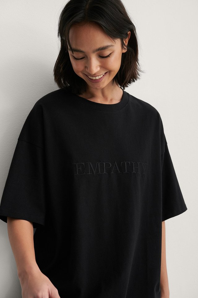 Black Embroidery Detail Boxy Tee