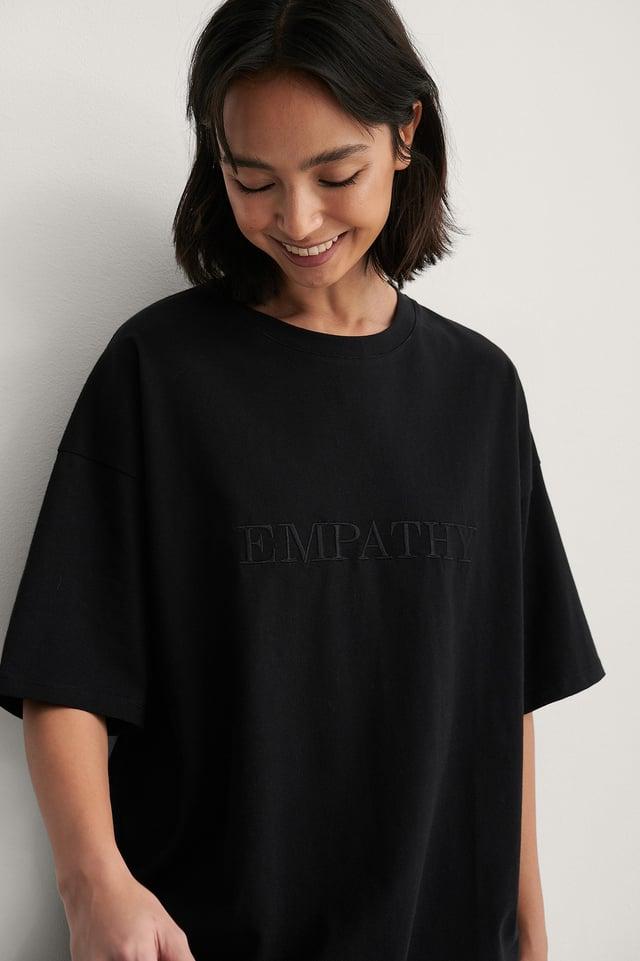 Black Organisch Recht Cropped T-shirt Met Borduursel