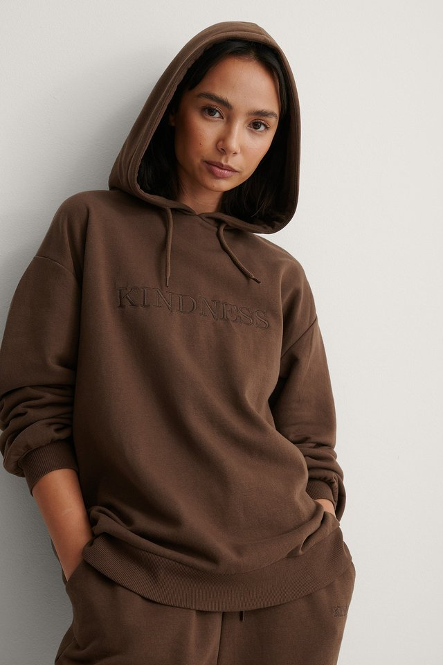 Brown Embroidery Detail Oversized Hoodie