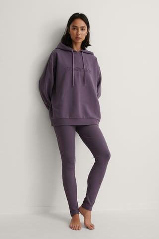 Purple Legginsy W Prążki Z Haftem
