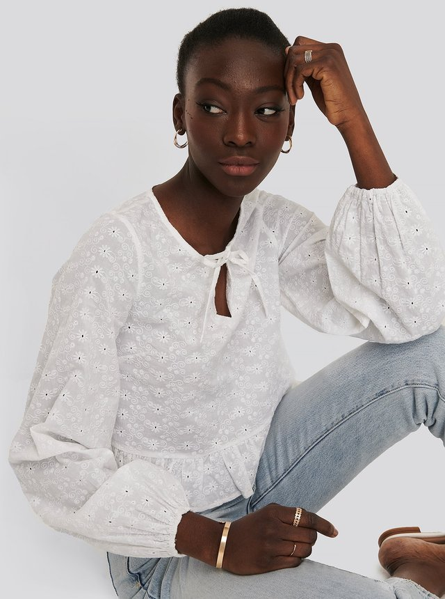 Embroidery Frill Blouse White