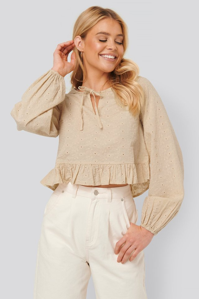Beige Embroidery Frill Blouse
