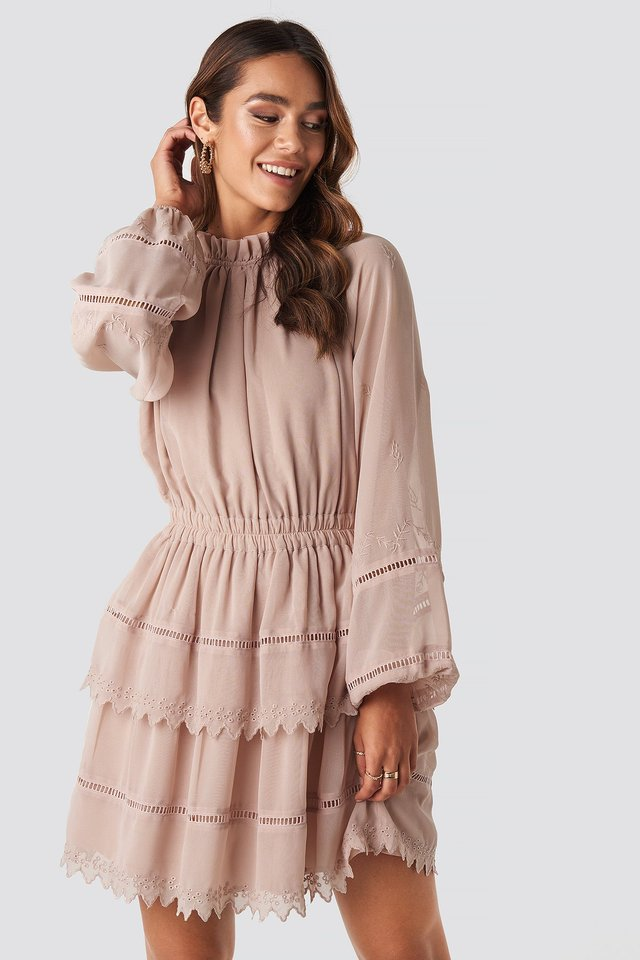 Embroidery Mini Dress Dusty Pink