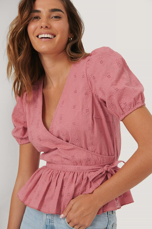 Dark Pink Embroidery Overlap Blouse