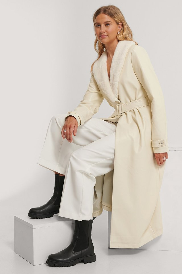 Faux Fur Pu Coat Off White