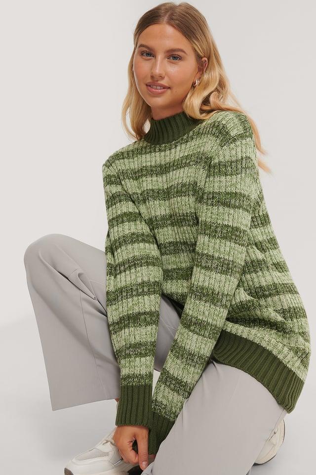Oversized Knitted Sweater Green Melange