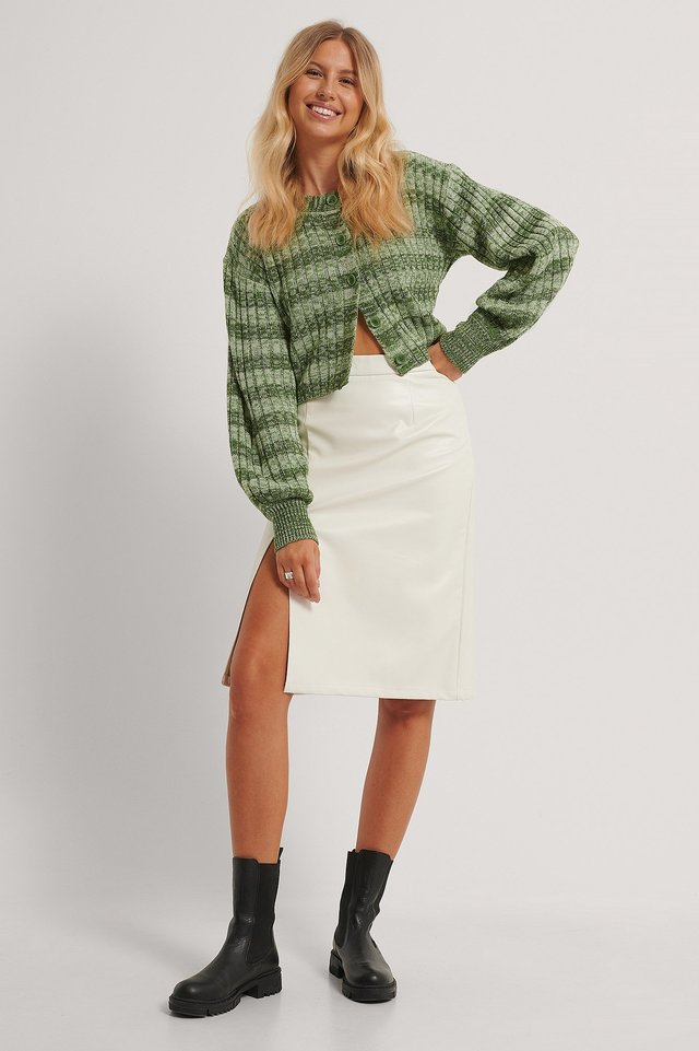 Side Slit Pu Skirt Off White