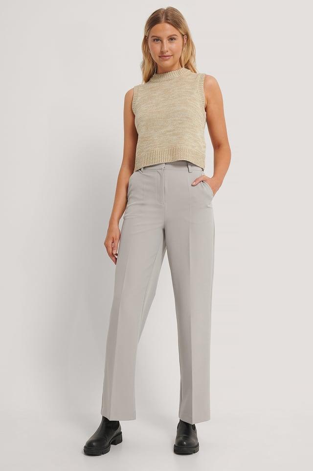 Pantalones De Vestir Con Pernera Recta Grey