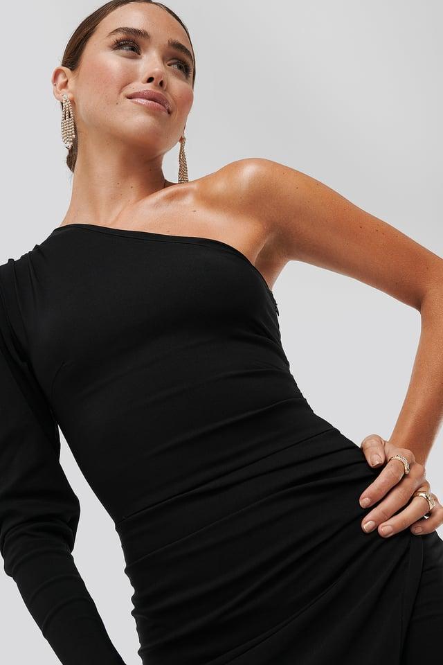 Evangelista One-Shoulder Dress Black