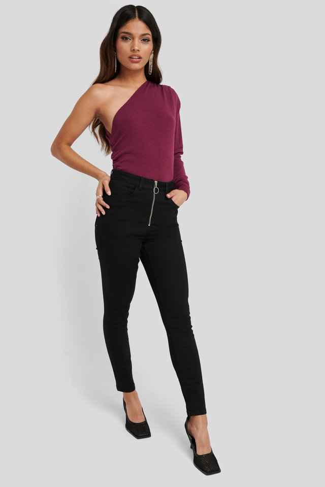 Black Exposed Zipper High Waist Skinny Jeans