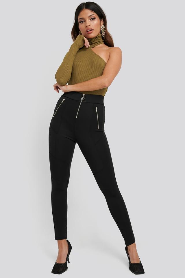 Exposed Zipper Leggings Black