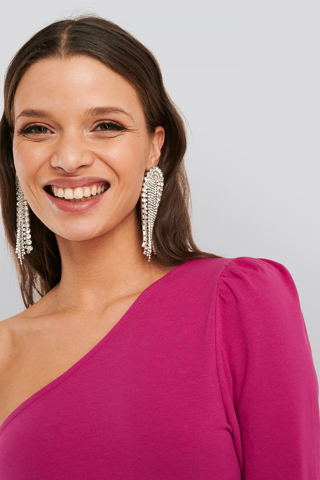 Extreme Dropping Strass Earrings Silver