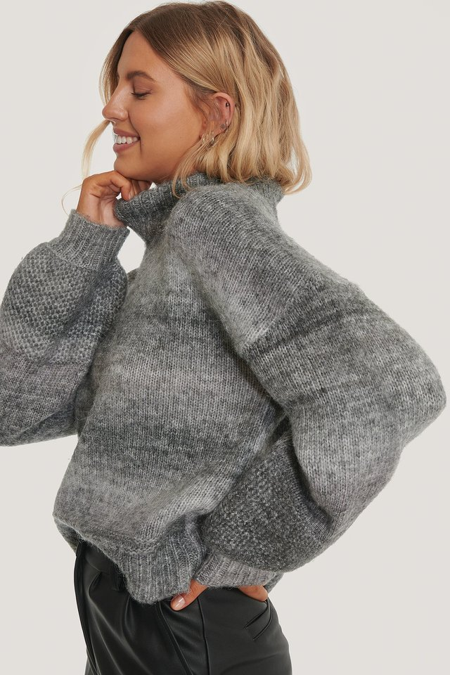 Grey Faded Color Knitted Sweater