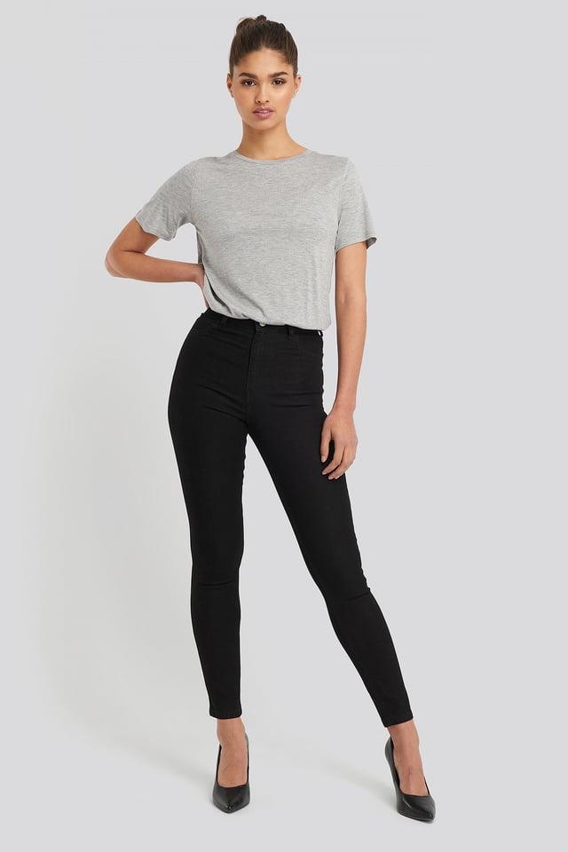 Fake Pocket Skinny Jeans Black