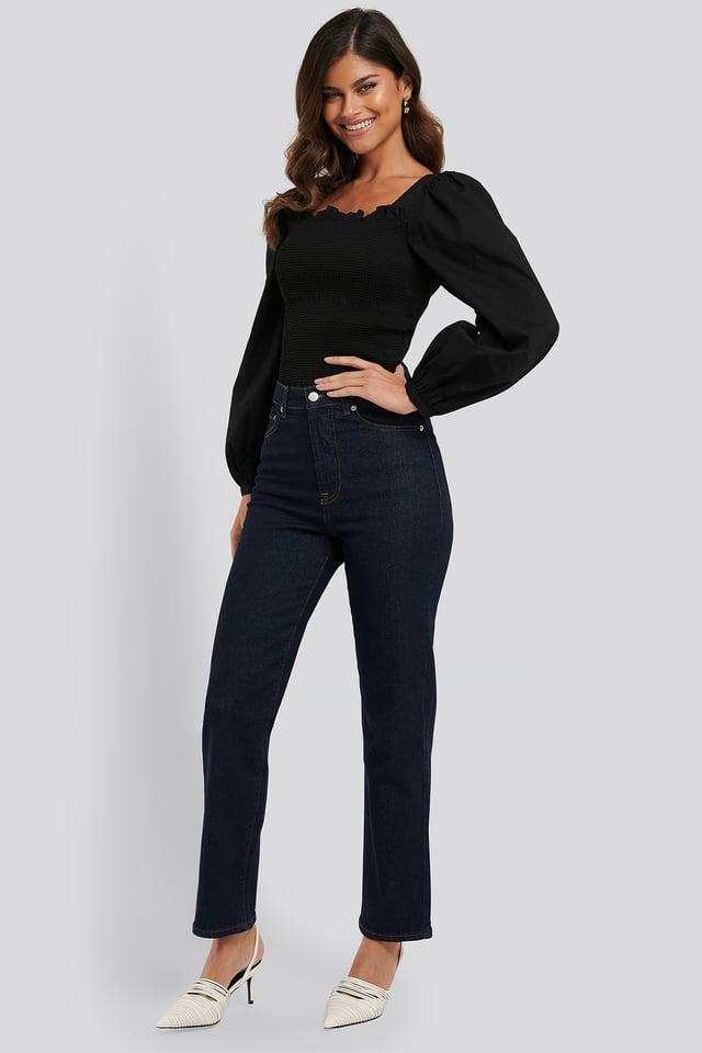 Straight High Waist Jeans Dark Blue