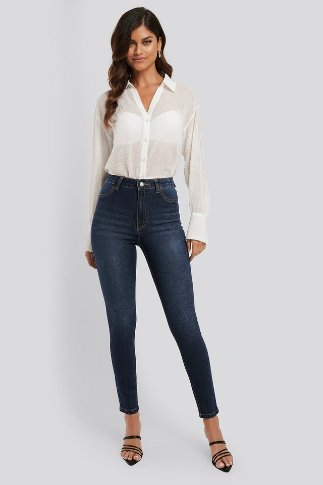 Fake Pocket Skinny Jeans Dark Blue