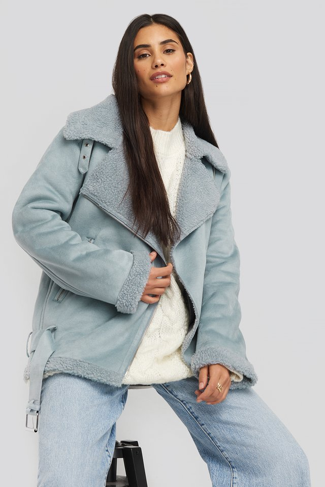 Fake Suede Bonded Aviator Jacket Dusty Blue