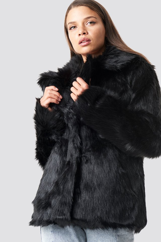 Faux Fur Collar Jacket Black