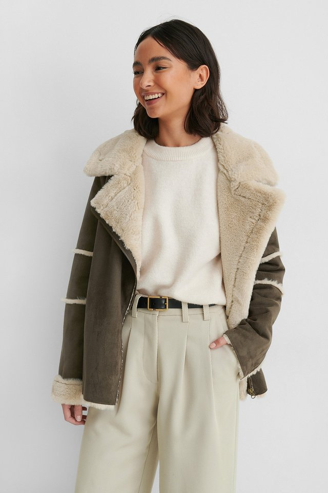 Brown Faux Fur Detail Aviator Jacket