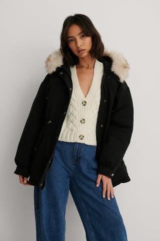 Black Faux Fur Detail Drawstring Jacket