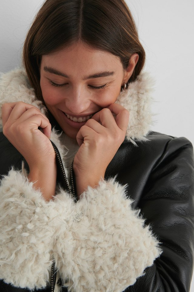 Black Faux Fur Detail Jacket