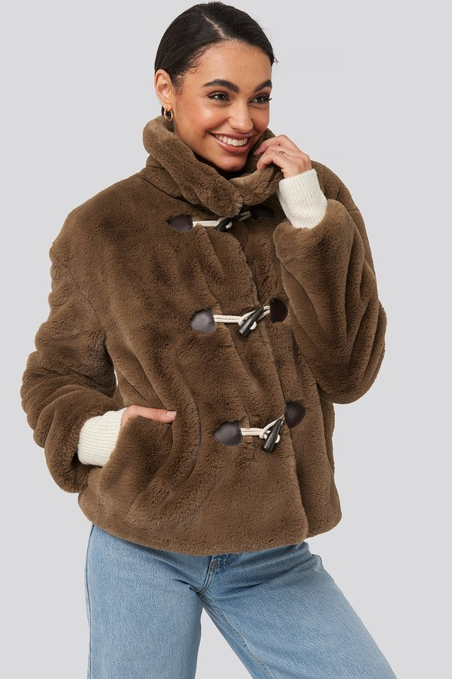 Faux Fur Duffle Jacket Brown