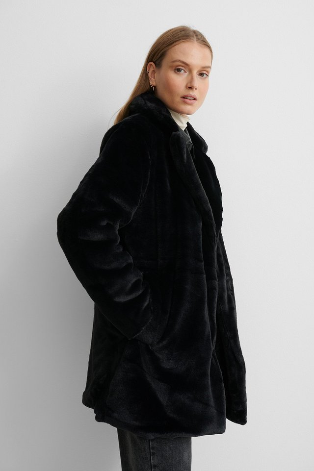 Fuskepelsjakke Black