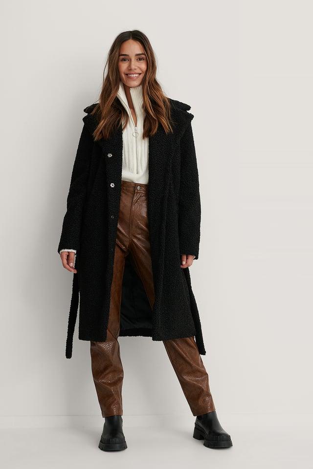 Black Długi Futrzany Płaszcz Z Paskiem
