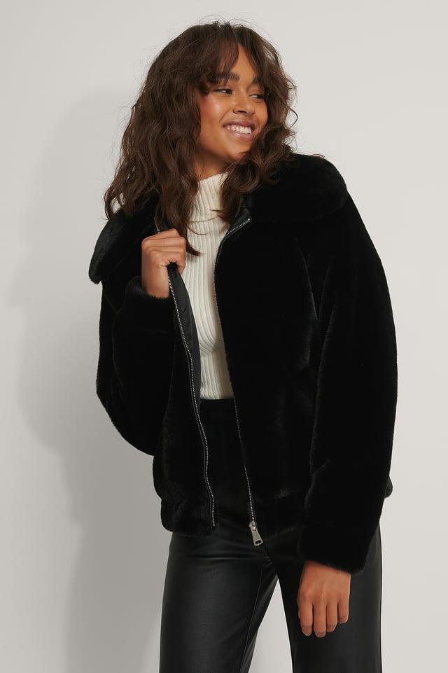 Faux Fur Zipper Jacket Black