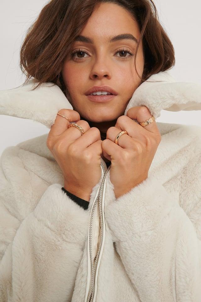Faux Fur Zipper Jacket Off White