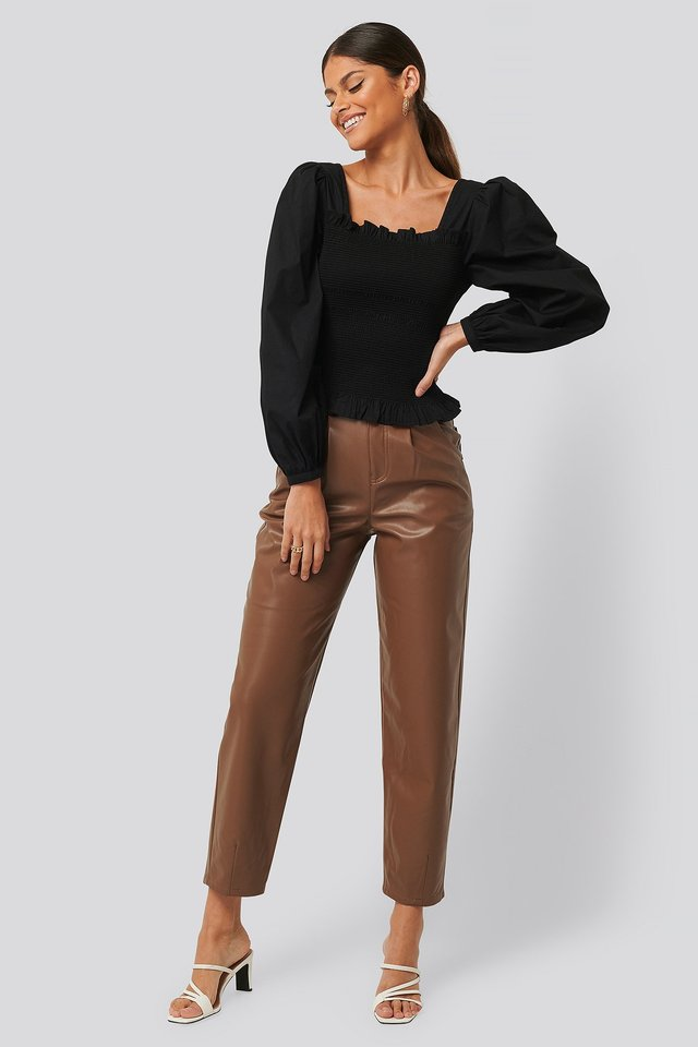 Faux Leather Ballon Leg Pants Camel