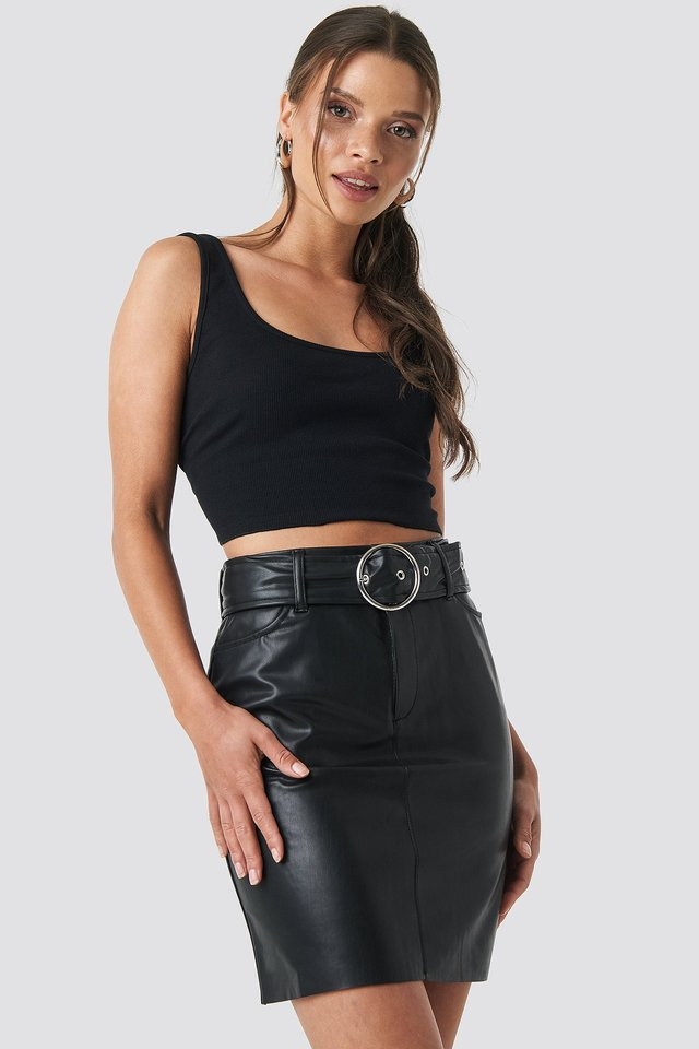Faux Leather Belted Mini Skirt Black