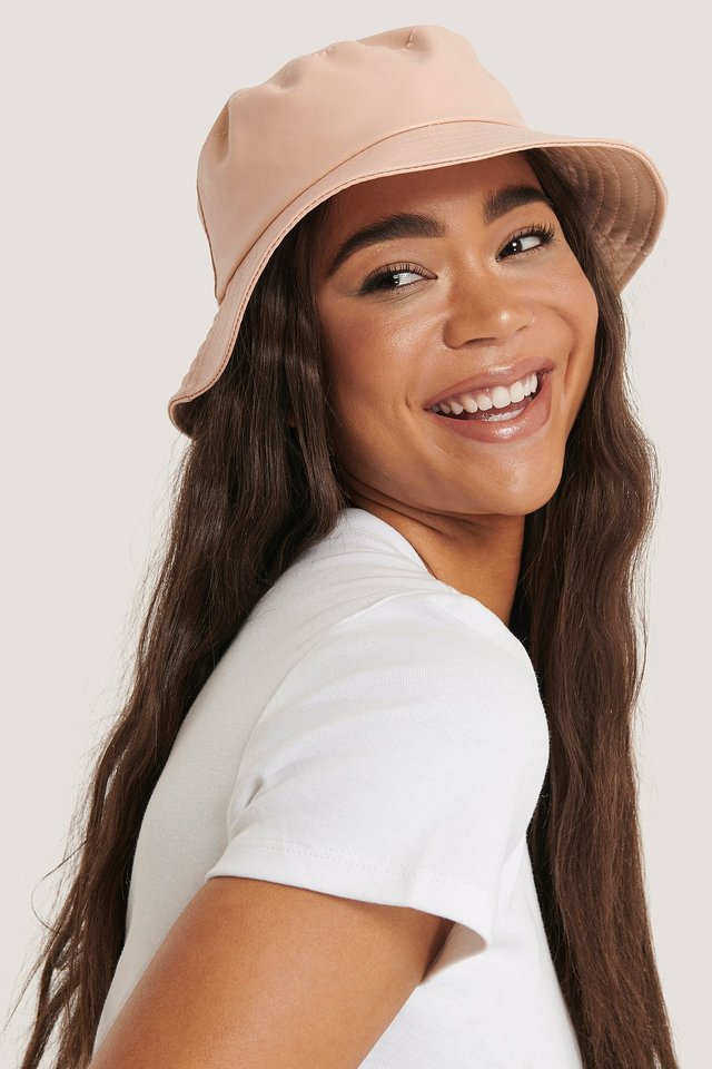 Faux Leather Bucket Hat Pink