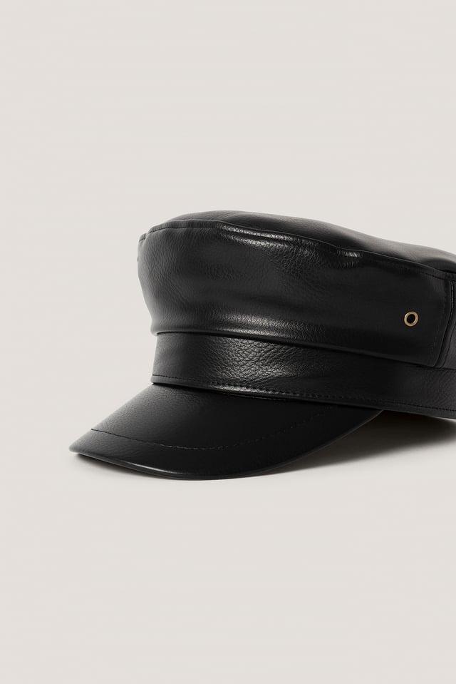 Faux Leather Captain Cap Black