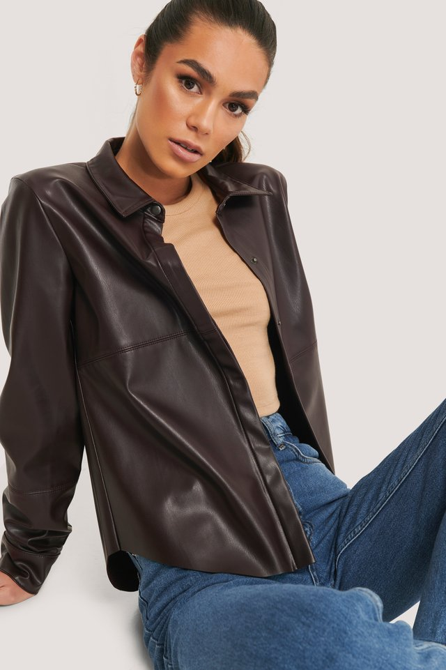 Brown Faux Leather Loose Fit Shirt