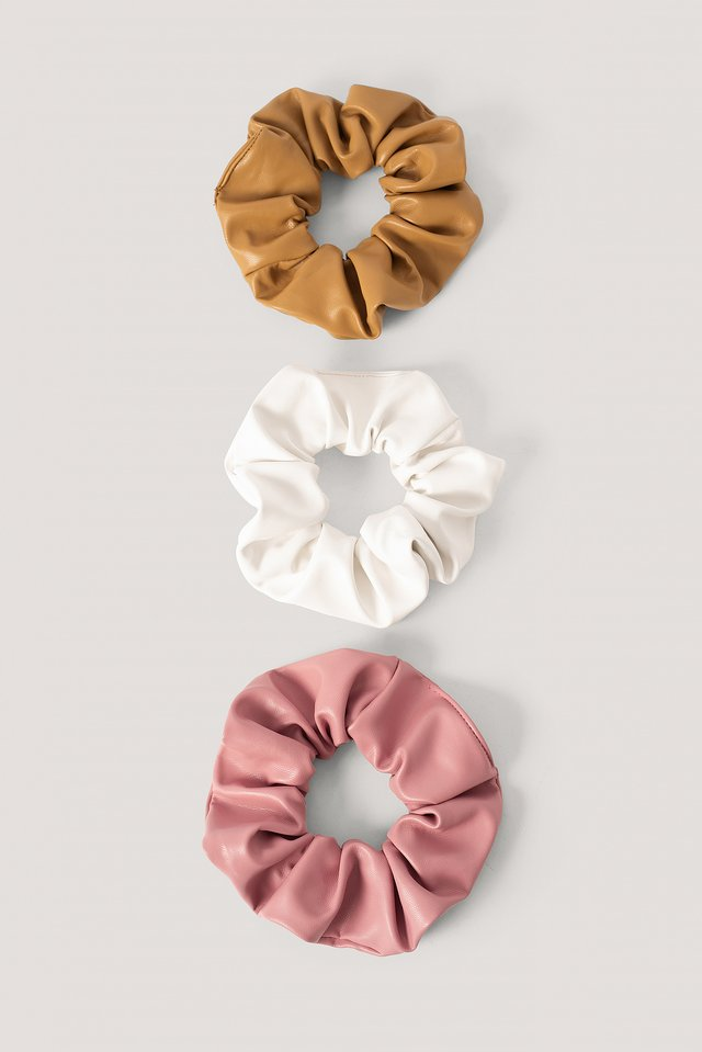 Faux Leather Scrunchies 3-Pack Pink