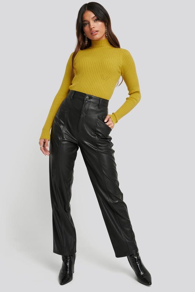 Faux Leather Straight Leg Pants Black